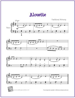 Alouette | Free Easy Piano Sheet Music