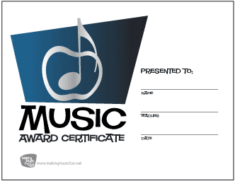 Silver Apple Music Award Certificate (Blue)