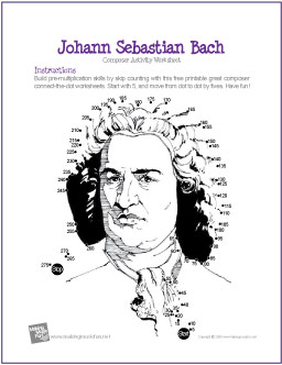 Weirdmailus  Picturesque Johann Sebastian Bach  Multiplication Connectthedot Worksheet With Entrancing Free Veterans Day Worksheets Besides Setting Life Goals Worksheet Furthermore Simplify Expressions With Exponents Worksheet With Agreeable Math Worksheets For Kids Grade  Also Volume Conversion Worksheet In Addition Tracing Alphabet Worksheet And Subtracting Fraction Worksheets As Well As Telling Time To The Nearest Minute Worksheets Additionally Seasons Worksheet Kindergarten From Makingmusicfunnet With Weirdmailus  Entrancing Johann Sebastian Bach  Multiplication Connectthedot Worksheet With Agreeable Free Veterans Day Worksheets Besides Setting Life Goals Worksheet Furthermore Simplify Expressions With Exponents Worksheet And Picturesque Math Worksheets For Kids Grade  Also Volume Conversion Worksheet In Addition Tracing Alphabet Worksheet From Makingmusicfunnet