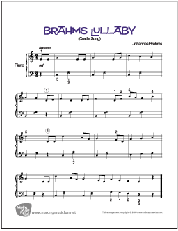 Brahms' Lullaby | Sheet Music for Piano (Digital Print)