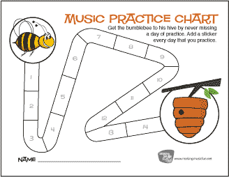 Bumblebee and Hive Music Practice Sticker Chart (14 Days)