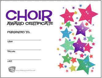 Choir Award Certificate (Stars)