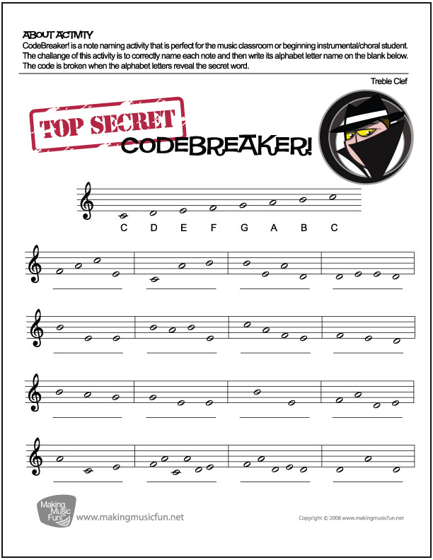 Codebreaker Music Theory Worksheet Treble Clef Note Names