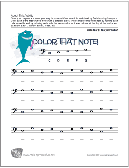 Color That Note! | Free Note Name Worksheet (Bass Clef: C Position)