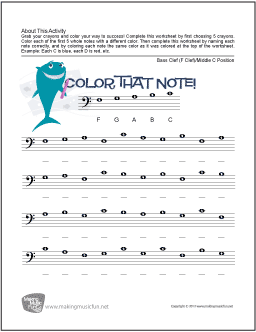 Color That Note : Free Note Name Worksheet - Bass Clef ...