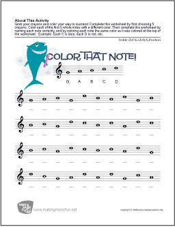 Color That Note!   Free Note Name Worksheet - Treble Clef/G Position