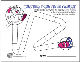 Easter Music Practice Sticker Chart (14 Days)