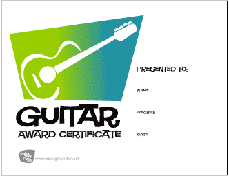 Guitar Award Certificate (Green to Blue Gradient)