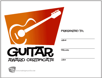 Guitar Award Certificate (Orange to Red Gradient)