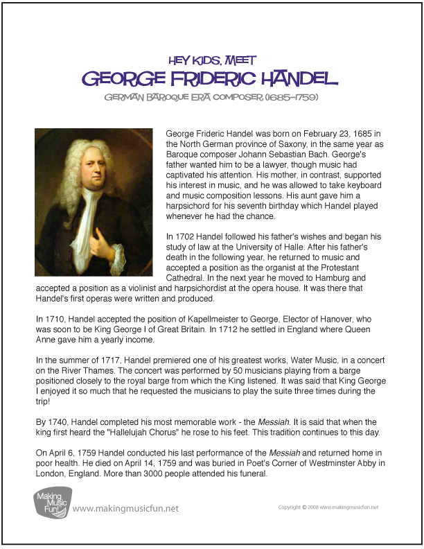 a biography of george frederick handel 2013-08-17  (1685-1759) george frideric handel, considered one of the greatest composers of the baroque period, was born in halle, germany, on feb 23, 1685 he died in london on apr 14, 1759, and.