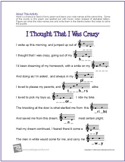 Worksheets Reading Music Worksheets music theory worksheets flash cards and games for kids i thought that was crazy note name worksheet heres a chance to read funny poem learn your names at the same time