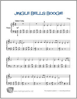 Jingle bells boogie by andrew fling for easy level 2 piano solo