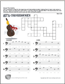 Let's Crossword! | Bass Clef Note Name Worksheet