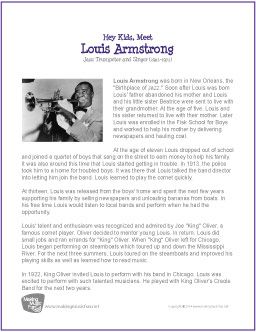 louis armstrong a biography Armstrong, louis (b 4 august 1901) in encyclopedia of african american history 1896 to the present length: 2419 words.