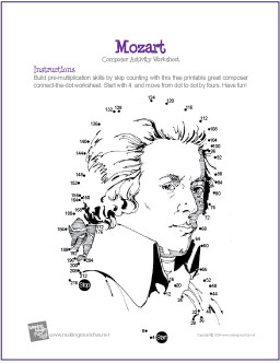 mozart free composer multiplication connectthedot