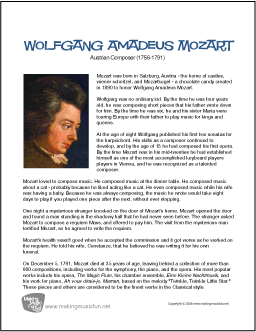 a biography of wolfgang amadeus mozart a composer This profile of wolfgang amadeus mozart will provide you with the information you need to learn about the life of this magnificent composer.