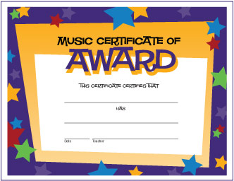 Music Certificate of Award (Stars)