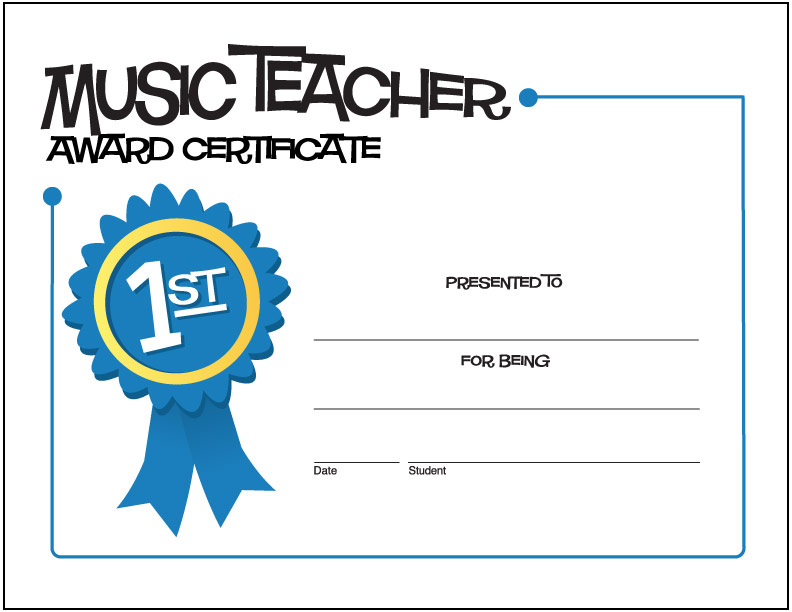 Music Teacher Award Certificate (Ribbon)