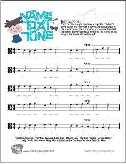 name that tune music theory worksheet viola clef note names. Black Bedroom Furniture Sets. Home Design Ideas