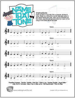 Name That Tune! | Free Treble Clef Note Name Worksheet