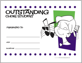Outstanding Choir Student Award Certificate (Girl)