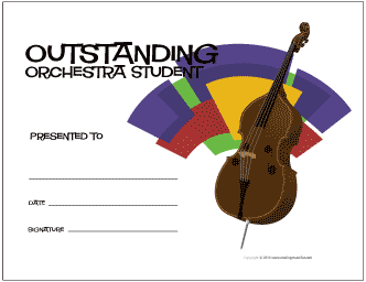 Outstanding Orchestra Student Award Certificate (String Bass)