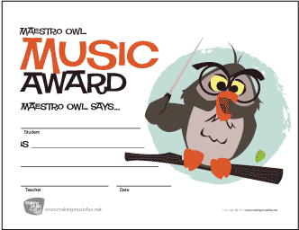 Wise Owl Music Award Certificate