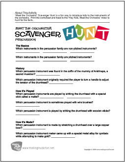 meet the orchestra scavenger hunt free percussion family worksheet. Black Bedroom Furniture Sets. Home Design Ideas