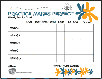 Bumblebee and Flowers | Practice Makes Perfect Music Practice Chart - Record Daily Practice Time (5 Weeks)