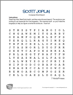 Proatmealus  Winning Scott Joplin  Free Composer Word Search Worksheet With Lovable Antonym Synonym Worksheet Besides Prime Factoring Worksheet Furthermore Bill Nye Flowers Worksheet Answers With Agreeable Halloween Worksheets For Preschool Also Telling Time By The Hour Worksheets In Addition Abc Worksheet For Kindergarten And Measurement And Geometry Worksheets As Well As Skip Count Worksheet Additionally Simplifying Fraction Worksheet From Makingmusicfunnet With Proatmealus  Lovable Scott Joplin  Free Composer Word Search Worksheet With Agreeable Antonym Synonym Worksheet Besides Prime Factoring Worksheet Furthermore Bill Nye Flowers Worksheet Answers And Winning Halloween Worksheets For Preschool Also Telling Time By The Hour Worksheets In Addition Abc Worksheet For Kindergarten From Makingmusicfunnet