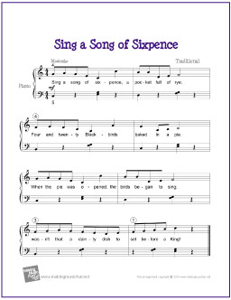 sing a song of sixpence free easy piano sheet music. Black Bedroom Furniture Sets. Home Design Ideas