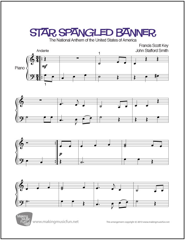 Star Spangled Banner Easy Piano Sheet Music Digital Print