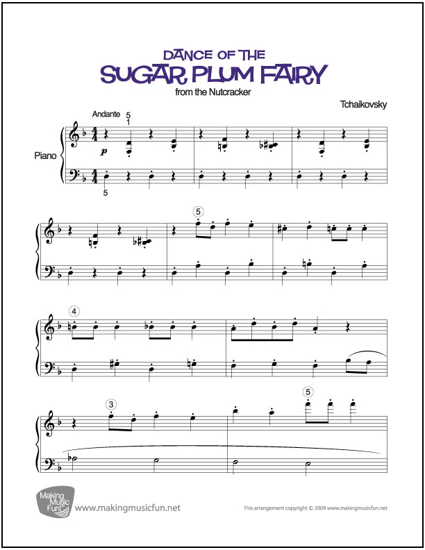 Dance Of The Sugar Plum Fairy Nutcracker Easy Piano