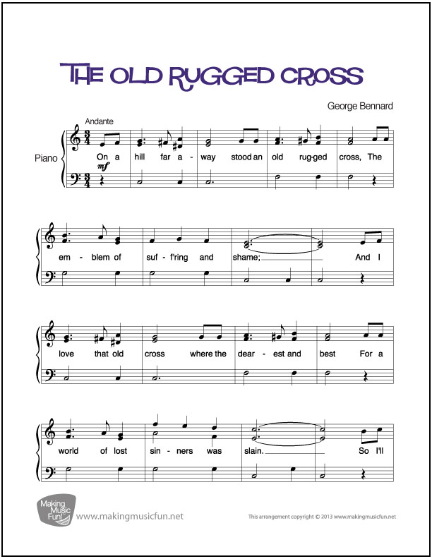 The Old Rugged Cross : Easy Piano Sheet Music (Digital Print)
