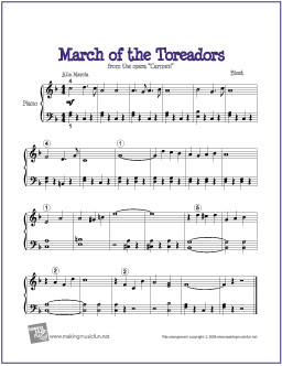 March Of The Toreadors From Carmen Bizet Free Easy Piano Sheet Music