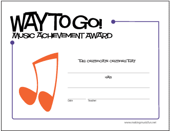 Way To Go! Music Achievement Award (Notes)