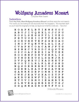 Wolfgang Amadeus Mozart | Free Composer Word Search Worksheet
